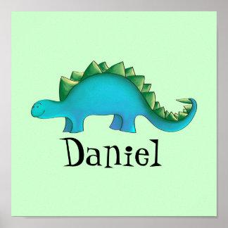 Dinosaur Nursery 11x11 Canvas Art - Stegosaurus Poster
