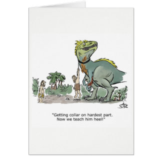 Dinosaur obedience training greeting card