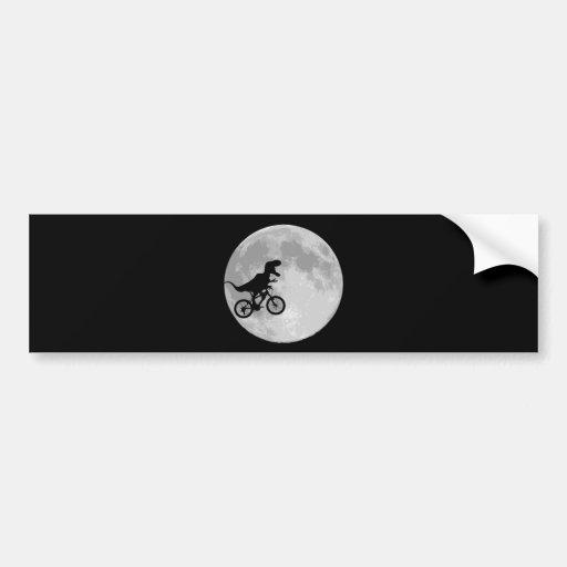 Dinosaur on a Bike In Sky With Moon Bumper Sticker