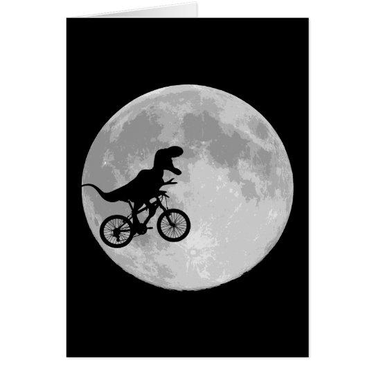 Dinosaur on a Bike In Sky With Moon Card