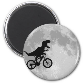 Dinosaur on a Bike In Sky With Moon Fridge Magnets