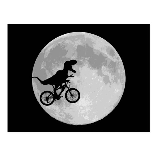 Dinosaur on a Bike In Sky With Moon Post Card