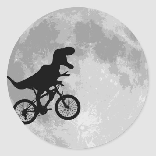 Dinosaur on a Bike In Sky With Moon Stickers
