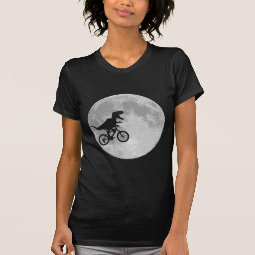 Dinosaur on a Bike In Sky With Moon Tshirt