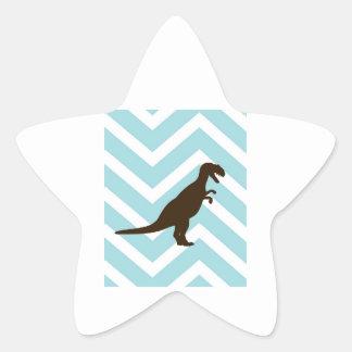 Dinosaur on Chevron Zigzag - Blue and White Star Sticker