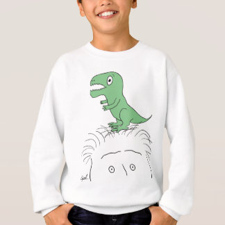 """Dinosaur on My Head!"" Apparel (green dino) Sweatshirt"