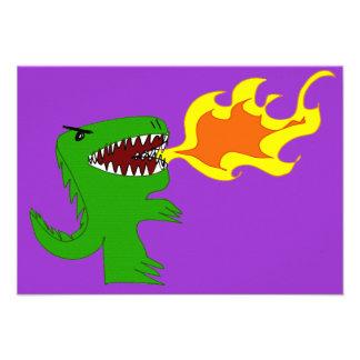 Dinosaur or Dragon Art by little t and Rene Lopez Custom Invite