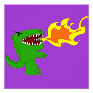 Dinosaur or Dragon Art by little t and Rene Lopez Personalized Announcements