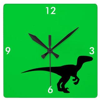 Dinosaur Outline Jurassic Era Square Wall Clock