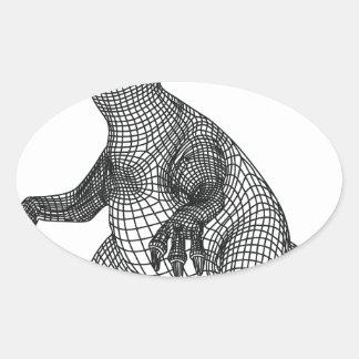 dinosaur oval sticker