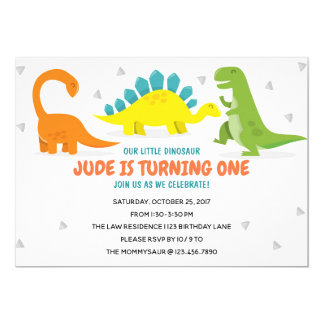 Dinosaur Party First Birthday Boy invitation