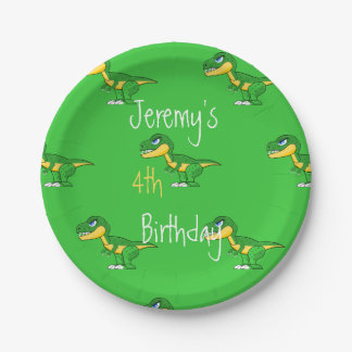 Dinosaur Pattern Cute Boys Age Birthday Paper Plate