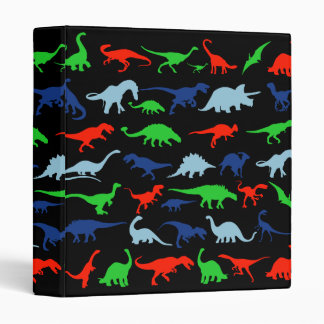 Dinosaur Pattern Green Blue and Red on Black 3 Ring Binders