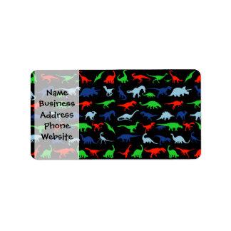 Dinosaur Pattern Green Blue and Red on Black Address Label