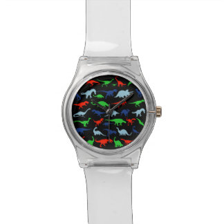 Dinosaur Pattern Green Blue and Red on Black Watch