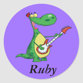 Dinosaur Plays Guitar Classic Round Sticker