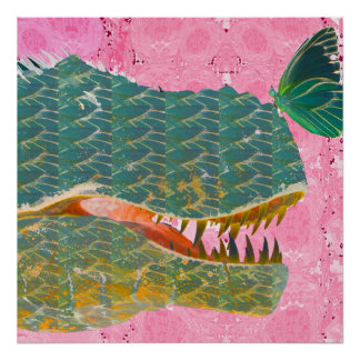 Dinosaur Poster with Butterfly Art Print