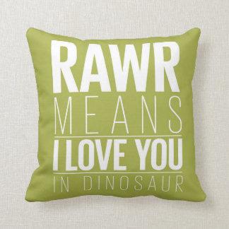 Dinosaur Rawr Pillow in Blue with Grey Chevron