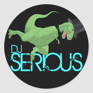 dinosaur SERIOUS DJ Round Stickers
