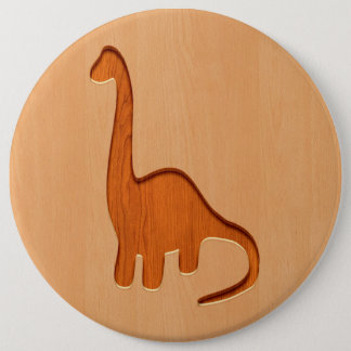Dinosaur silhouette engraved on wood design 6 inch round button