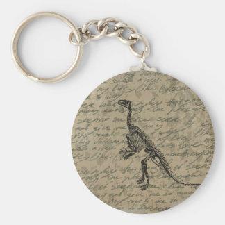 Dinosaur skeleton basic round button keychain