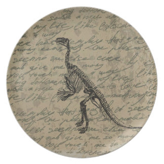 Dinosaur skeleton dinner plate