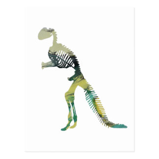 dinosaur skeleton postcard