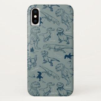 Dinosaur Sketch Pattern iPhone X Case