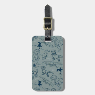 Dinosaur Sketch Pattern Luggage Tag