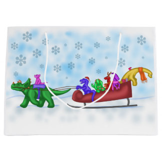 Dinosaur Sleigh Ride Large Gift Bag