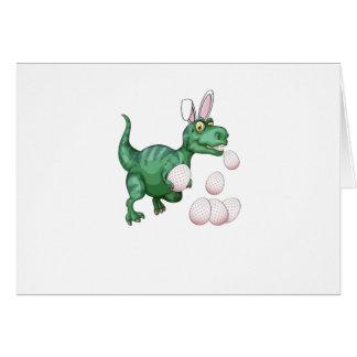 Dinosaur T-Rex Bunny Funny Easter Egg Card