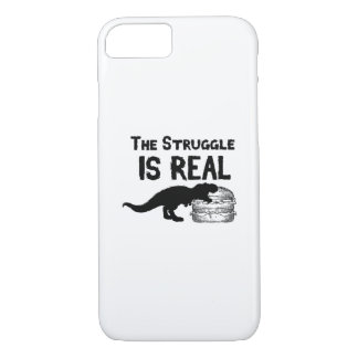 dinosaur T Rex The Struggl Is Real hamburger Funny iPhone 8/7 Case