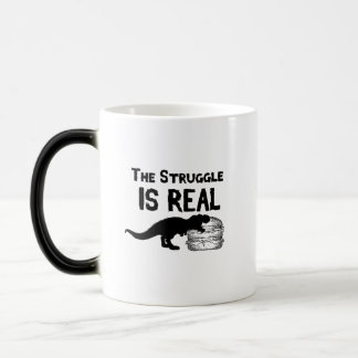 dinosaur T Rex The Struggl Is Real hamburger Funny Magic Mug