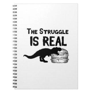 dinosaur T Rex The Struggl Is Real hamburger Funny Notebook