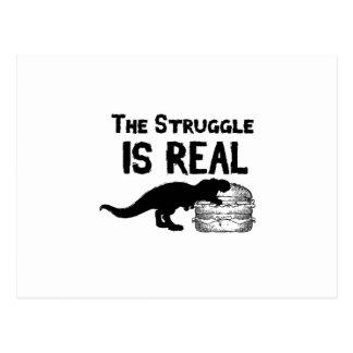 dinosaur T Rex The Struggl Is Real hamburger Funny Postcard