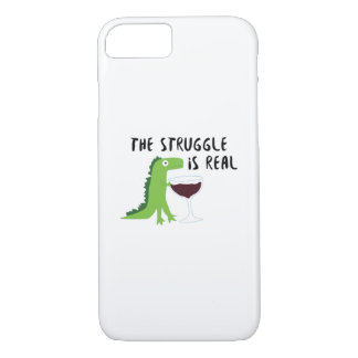 dinosaur T Rex The Struggl Is Real Wine Funny iPhone 8/7 Case