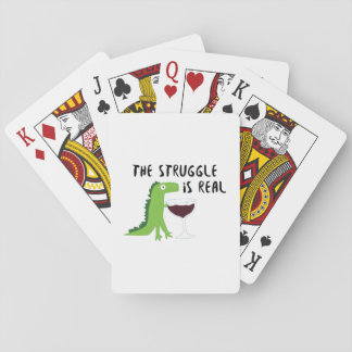 dinosaur T Rex The Struggl Is Real Wine Funny Playing Cards