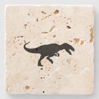Dinosaur T-Rex Tyrannosaurus Rex Black Silhouette Stone Coaster