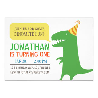 Dinosaur Themed First Birthday Boy invitation