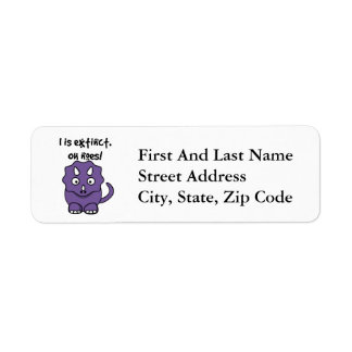 Dinosaur Triceratops Cartoon Illustration Return Address Label