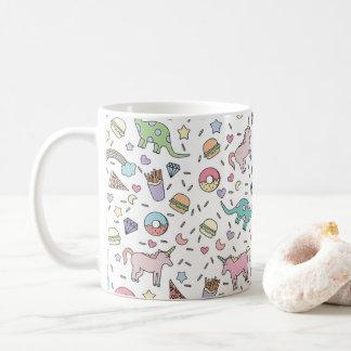 Dinosaur Unicorn Food Doodle Mug