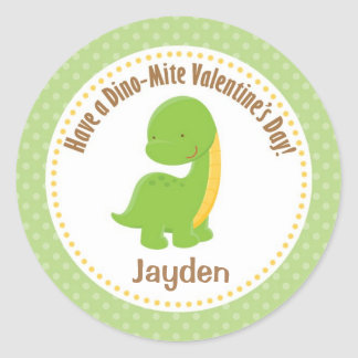 Dinosaur Valentine Stickers - Boys Green Dino-mite