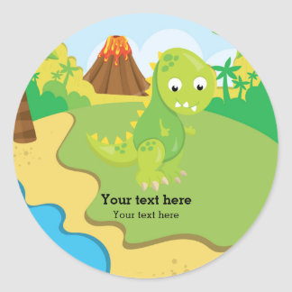 Dinosaure adorable sticker rond