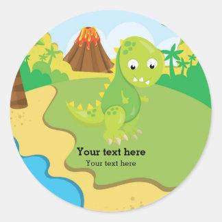 Dinosaure adorable sticker rond