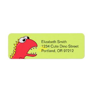 Dinosaure mignon de T-Rex de bande dessinée de sou Étiquettes D'adresse Retour