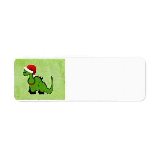 Dinosaure vert dans un chapeau de Père Noël pour N Étiquettes D'adresse Retour