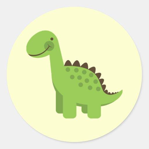 Dinosaure vert mignon adhésif rond
