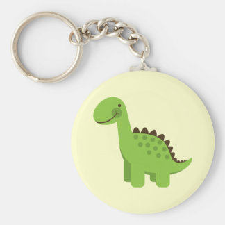 Dinosaure vert mignon porte-clé rond