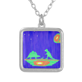 Dinosaurs and Mouse Silver Plated Necklace