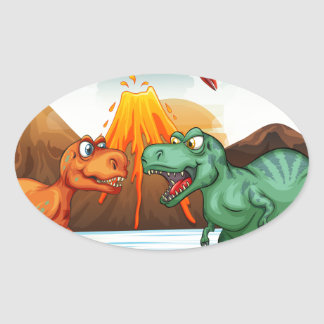 Dinosaurs fighting in the field oval sticker